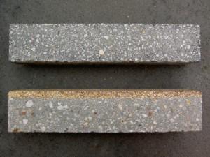 Doorsnede door-en-door steen en slijtvaste steen